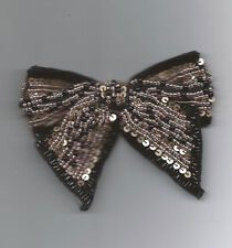 Black Ribbon Sequin Beaded Bow Applique 2603-C