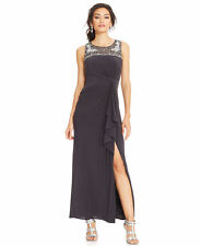 Patra Women's Charcoal Embellished Ruffle Evening Gown Size 12