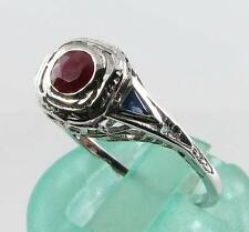 DAINTY 9CT WHITE GOLD  ART DECO INS  RUBY &  SAPPHIRE FILIGREE RING  FREE RESIZE