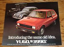 Original 1986 Yugo Sales Sheet Brochure 86