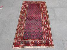 Antiguo tradicional hecho a mano Alfombra oriental rojo colorido Lana de raza blanca 173x93cm