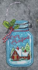 """Finished unframed Counted Cross Stitch Cozy Xmas Ornament 3"""" x 7"""""""