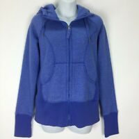 Zella Medium Blue Heather Hoodie Sweatshirt Jacket Thumb Holes Full Zip Pockets