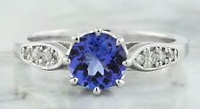 1.21 Carat  Genuine Tanzanite 14K Solid White Gold Diamond Ring