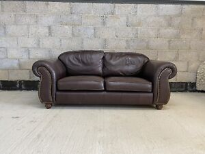 Thomas Lloyd Chesterfield Style Aged Brown Leather Club Sofa FREE P&P