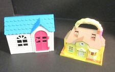Vintage Blue Box Tiny Dreams Carry Along Mini Doll House and Doll House Front