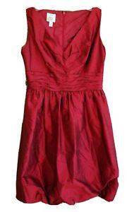 Suzi Chin Boutique Womens SZ 10 Red Dress Sleeveless Back Zip Bubble Hem Lined