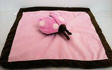 Tiddliwinks Pink Brown Ladybug Lovey Security Blanket Baby Girl 13x13