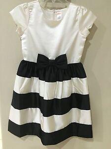 Girls GYMBOREE New Black & Ivory Satin Dress Size 10 DRESS Formal occasion