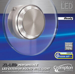 XL LED Performance Outdoor Round Wall Light Glass Cool White 6000K 240V IP44