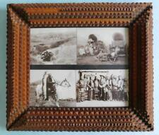 1930s Tramp Folk Art Wood Frame w' First Nations American Indian Western Photos