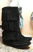 Minnetonka Womens Black Suede Triple Fringe Calf Moccasin Boots Size 6