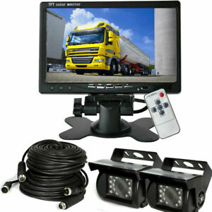 """for Horse Trailer Truck Rear View 4-Pin Dual Rearview Camera Kit 7"""" LCD Monitor"""