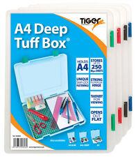 A4 DEEP TUFF BOX - File Storage Organiser School Office Solid {Tiger Stationery}