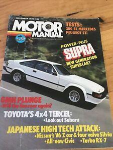 MOTOR MANUAL magazine NOV 1983 380SE SUPRA CELICA TERCEL RX7 CIVIC SILVIA V6
