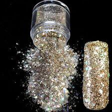 DIY UV Nail Art Glitter Powder Light Gold Champagne Mix Size Nail Dazzling N286