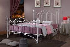 King Size Metal Bed Frame White Victorian Style Classic Bedstead Shabby Chic