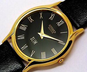 seiko quartz super slim men's gold plated black dial japan made watch run order