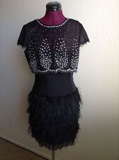 "NWT BCBG Max Azria $748 ""Karley"" Embellished Overlay Feather Skirt Dress*8"