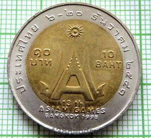 THAILAND RAMA IX 1998 10 BAHT, 13th ASIAN GAMES, BI-METALLIC, UNC