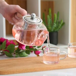 Glass Tea Pot Hot Water Coffee Clear Leaf Stainless Steel Infuser Teapot Heat