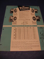 1950's NuTone Motor Fan catalog Door Chimes