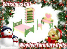 Wooden Furniture Dolls House Family Miniature For Kids Children Christmas Toys