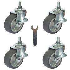"Caster Wheels, Stem Casters Set of 4, 3 Inch 3/8""-16x1"" Threaded Stem Mount Duty"
