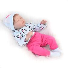"22"" Lifelike Silicone Reborn Baby Sleeping Girl Dolls with Cloth Body X-MAS Gift"
