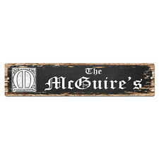 SPFN0482 The MCGUIRE'S Family Name Street Chic Sign Home Decor Gift Ideas