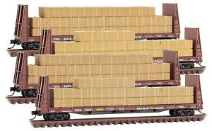 Micro-Trains MTL N-Scale TTX Bulkhead Flat Cars/Load (Brown) - Runner 4-Pack