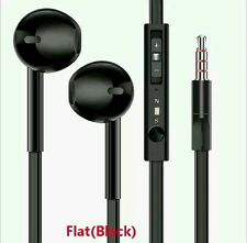 New  Earphones flat  cable / Hands free Remote Mic iPhones iPod Samsung HTC