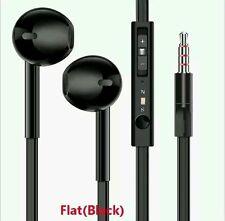2X  Earphones flat  / Hands free Remote Mic iPhones iPod Samsung HTC