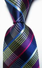 New Classic Checks Blue Yellow White Red JACQUARD WOVEN Silk Men's Tie Necktie