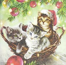 3 x Single Paper Napkins For Decoupage Craft Christmas Basket Cats Kittens N120