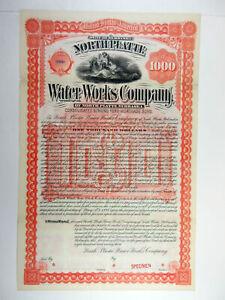 NE. Water Works Co., 1893 $1,000 Specimen 6% Bond, Fine condition, ABNC