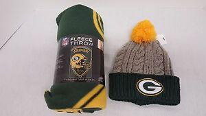 Set of 2 Green Bay Packers 1 Fleece Blanket and 1 Cap, Women's, NEW