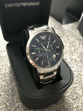 100% Authentic Emporio Armani AR2448 Chronographic Silver / Blue Watch