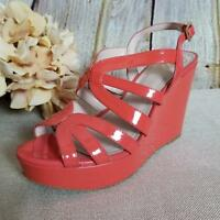 Vince Camuto Women's Wedge Platform Heels Size 6.5M Open-Toe Leather Orange