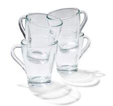 Glass Mugs Set of 4 With Handle - Coffee / Tea Stylish Beverage / Latte Glasses
