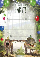 Pack of 20 Birthday Party Invitations Dinosaur Theme Large A5 Sheets + Envelopes