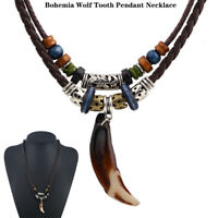 1PC Men's Bohemia Wolf Tooth Pendant Jewelry Leather Beaded Weaved Necklace Gift