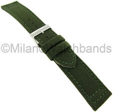 20mm Hadley Roma Padded Stitched Genuine Cordura Canvas Green Watch Band 850