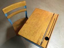 Vintage Antique Children's Wooden / Metal School Desk Adjustable