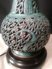 Antique Blue Chinese Reticulated Porcelain Lamp ~Wai Ming Blanc De Chine