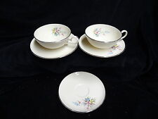 2 sets of Cups and Saucers, Bouquet by Hom Ec Fine China USA, plus extra plate