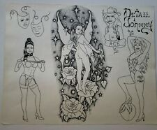vintage original '94 tattoo flash detail johnny pinup fairy dixie rose, monk