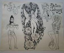 vintage original '94 tattoo flash detail johnny pinup fairy dixie rose, monk