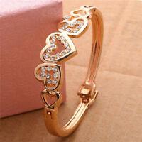 Gold Plated Crystal Cuff Bangle Rhinestone CZ Heart Bracelet Wedding For Women