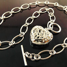NECKLACE CHAIN GENUINE REAL 925 STERLING SILVER S/F SOLID HEART T'BAR DESIGN